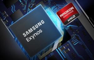 ارم شرکت گرافیک AMD که از رنگ قرمز و مشکی طراحی شده و ارم شرکت سامسونگ به رنگ سرمه ای