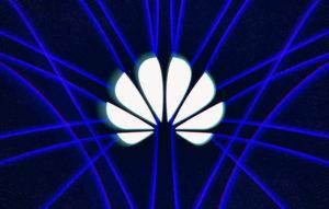 لوگوی شرکت هواوی با رنگ سفید و پس زمینه مشکل و خط ابی